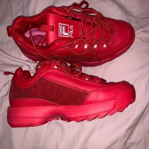 All Red Fila Shoes